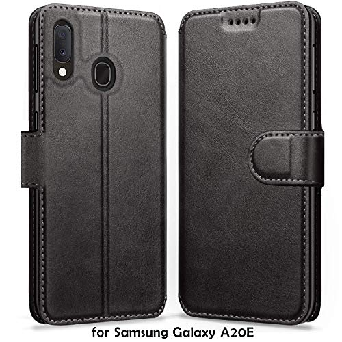 ykooe Handyhülle für Samsung Galaxy A20e Hülle, Schwarz Leder Schutzhülle für Samsung Galaxy A20e Flip Case Tasche