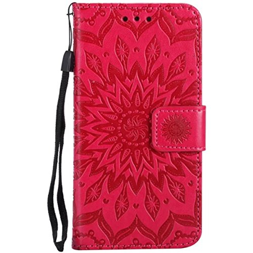 iPhone 7 Étui en cuir, Lifetrut [Tournesol gaufré] Portefeuille en cuir Flip Folio Design Flip Coque Couverture pour iPhone 7 [Marron] E207-Rouge