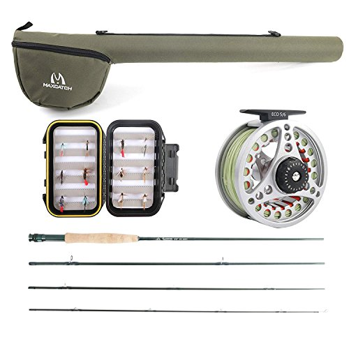 Maximumcatch Extreme Fliegenfischen Combo Kit 3/5/6/8 WT Fliegenrute und Rolle Outfit(5wt -9' Half-Handgriff Rute, 5/6 Rolle mit Accessoires) (6 WT -9' Half-Handle Rod,5/6 Reel) -