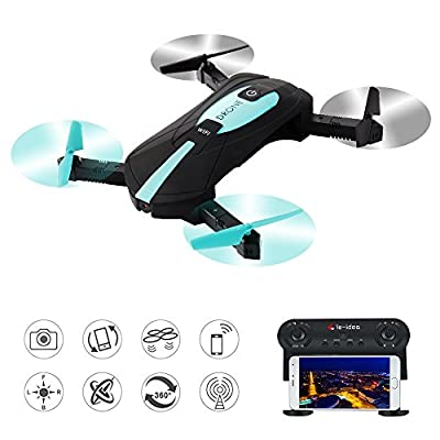 le-idea WIFI FPV Quadcopter Toy 2.4G Foldable Arm Mini Selfie Drone with 2 MP Camera by Phone Control Best Gift by le-idea