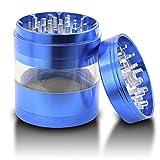 DCOU Aluminium Tabak Gewürze Kräutermühle mit Pollensammler, Mehrfachkammern und magnetischen Deckel 4-teilig 2,5 - Zoll (Blau)