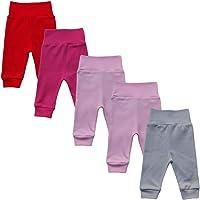 Mea Baby - Lot de 5 pantalons pour bébé unisexe 100 % coton Pantalon bébé pour garçon et fille.