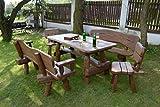 Rustikale Gartengarnitur aus Massivholz | Gartenmöbel aus Eichen- und Akazienholz | Sitzplätze: ca. 8 Personen | Tisch, 2 Bänke, 2 Stühle