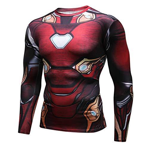 JUFENG Mens Superhero Fancy Dress/Gymnastik/Radfahren Langarm Compression Baselayer T-Shirt,A-M