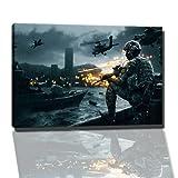 battlefield 4 Bild auf Leinwand -- 60x40 cm fertig gerahmte Kunstdruckbilder als Wandbild - Billiger als Ölbild oder Gemälde - KEIN Poster oder Plakat