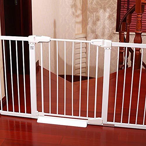 Depruies, cancelletto di Sicurezza per Bambini e Animali Domestici, con Barra di Fissaggio per Porte e Scale Bianco