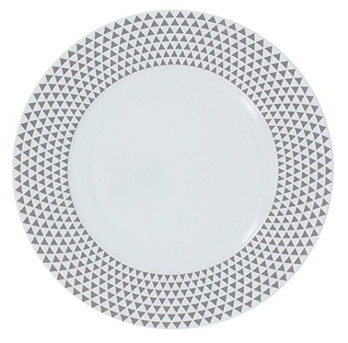 TheKitchenette Lot DE 4 Assiette Plates 27CM en Porcelaine PYROS Gris