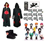 Cosplay Naruto Akatsuki Ninja cosplay / Cosplay capucha capa + Naruto Naruto Ninja diadema + zapatos + anillo + Ninja Naruto figurilla 11 piezas, tamaño M (altura 159cm-168cm)