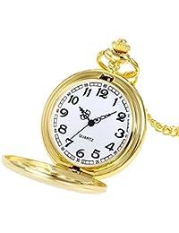 DAYLIN Reloj de Bolsillo Mujer Hombre Antiguo Steampunk con Cadena Collar Reloj de Cuarzo Reloj Bolsillo Dorado Plata Enfermera Pocket Watch Joya Regalos para Mama Papa