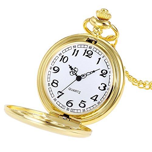 Uhren Herren Wasserdicht Sport Luxus-Edelstahl-Quarz-Militärsport-Lederband-Vorwahlknopf Crown Unisex Mode Bronze Kette Halskette Taschenuhr (Gold)
