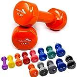 2er Set FOURSCOM® 2x 0,5-2x 10kg Vinyl Hanteln Kurzhanteln Gymnastikhanteln, 13 verschiedene Gewichte und Farben zur Auswahl