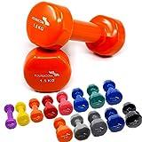 2er Set FOURSCOM® 2x 1,5kg Vinyl Hanteln Kurzhanteln Gymnastikhanteln, 13 verschiedene Gewichte und Farben zur Auswahl