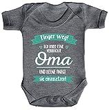 ShirtStreet Lustige Geschenkidee Muttertag Strampler Bio Baumwoll Baby Body kurzarm Ich habe eine verrückte Oma, Größe: 6-12 Monate,Heather Grey Melange