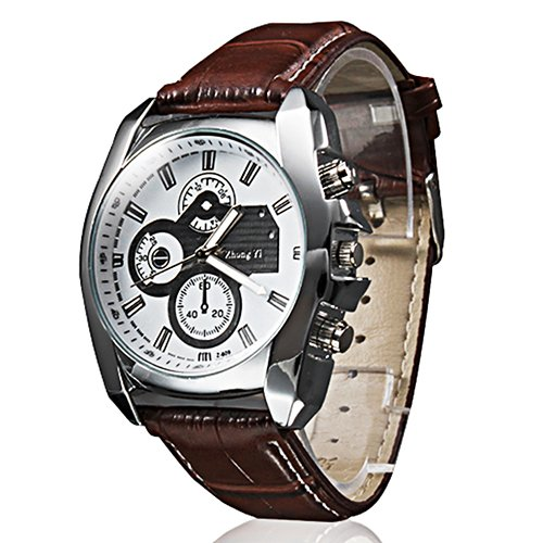 Herren Analog Quarz Armbanduhr mit Lederband - Braun