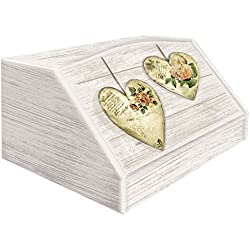 Lupia 'Rose Heart' - Panera de madera con decoración 'Rose Heart' estilo shabby chic, dimensiones 30 x 40 x 20 cm