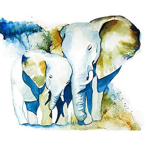 zlhcich Elefante di Pittura ad Olio di Paesaggio Animale (Tre) 40 * 50 cm