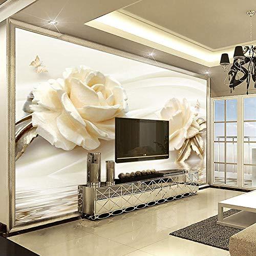 """3d fototapete blume champagner rose moderne romantische wohnzimmer tv hintergrundbild vliestapete wohnkultur300x210cm/118\""""x 83\"""""""