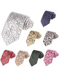 Modfine Corbata Hombre de Lazo Multicolor Estampada Estrecha y Formal de Moda