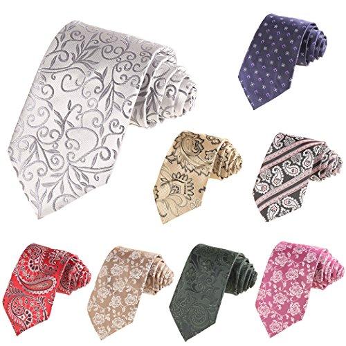 Modfine Corbata Hombre Rosa Estampada Flores Clásica y Sólida de Moda Patrón 2