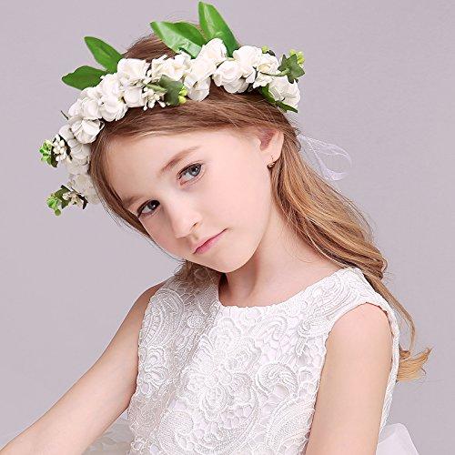 JZK® Bianca coroncina fiori capelli con bracciale fiore per sposa damigella  d onore bambina donna per festa matrimonio fotografia corona fiori  ghirlanda ... 8bda763b2a1c