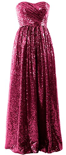 MACloth Women Strapless Sequin Long Bridesmaid Dress Formal Party Evening Gown Wine Red