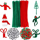 900 Pezzi Set di Pipa Scovolini Natale, tra Cui 200 Pezzi Steli Ciniglia di Natale, 400 Pezzi Rosso Verde Pompon Palla e 300 Pezzi Auto Adesivo Wiggle Occhi Googly per Craft Fai da Te