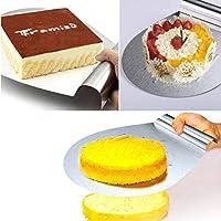 Diy hornear 430 todo de acero inoxidable pastel de pala pastel de transferencia de seguridad móvil flor pastel móvil de plata