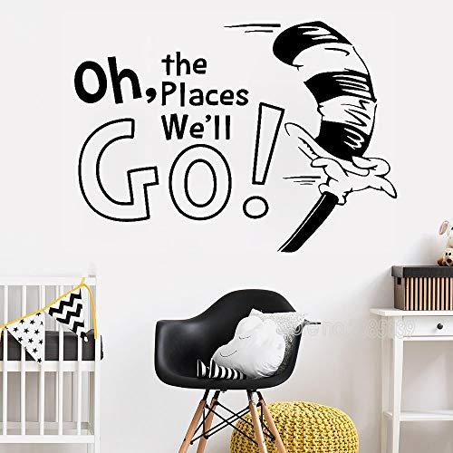Qsdfcc Wandaufkleber Zitat Oh die Orte die Sie gehen Art Vinyl Wandbild Moderne Wandaufkleber für Kinderzimmer Home Decor Poster 58cx42cm