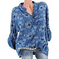 showsing-women clothes Blusa Vintage de Manga Larga para Mujer, con Estampado Floral, Talla Grande, Mujer, Color Azul, tamaño Small