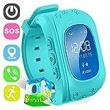 tbparts Smart Watch für Kinder Kinder Smartwatch Telefon mit Sim Anrufe Antiverlust GPS Tracker SOS Stimme Chat GPRS Armband Eltern Control App (Blau)
