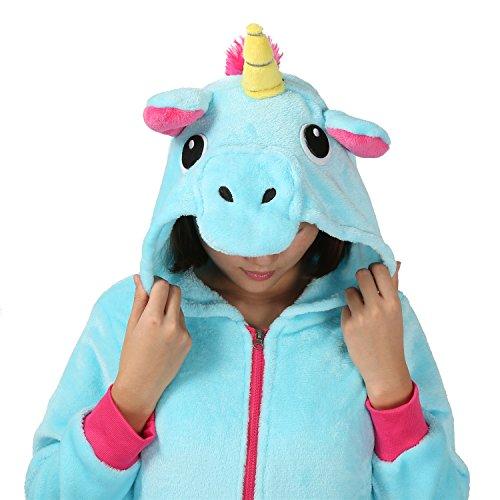 Einhorn Kostüm Jacke Kapuzenpullover Pyjama Sweatshirt Tieroutfit Hoodies Reißverschluss mit Kapuze Tier Cosplay Halloween - Très Chic Mailanda Blau