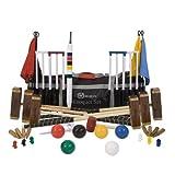 6 Pers. Meister Krocket Set- Wettkampfset, 16mm dicke Stahltore, aus ECO-hartholz mit Kunststoffbällen