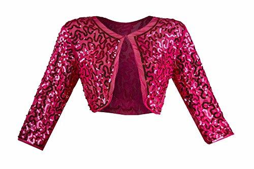 Damen Pailletten Bolero Schulter Jäckchen ideal zum Abendkleid Cocktailkleid Kleid pink 36-40 (Bolero Seide)