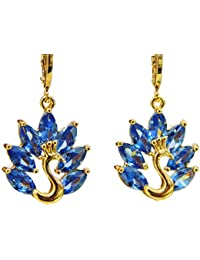 61bbe659793a2e Limited Time Low Price High Quality 18K Gold Plated Peacock Drop Earrings  AAA Cubic Zirconia CZ American Diamond Jewellery for…
