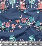 Soimoi Blau Baumwoll-Popeline Stoff Blumen, Baum & Eule