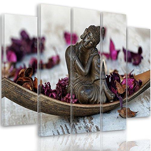 Feeby Frames, Cuadro en Lienzo - 5 Partes - Cuadro impresión, Cuadro decoración, Canvas Tipo B, 100x150 cm, Buda, Arte, Cultura, RÚSTICO, Morado, MARRÓN