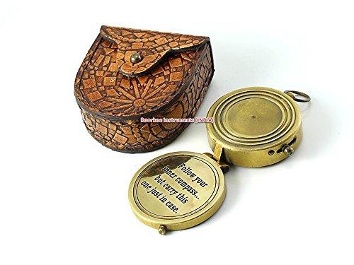 Personalisierte Kompass, Messing, mit Mandala-Design, aus Leder, handgefertigt, mit kostenloser