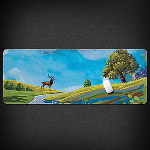 WENSHUO Spiel-Mauspad- Tischset Große Dicke Rutschfeste Illustration Hirsch Für Pc Und Laptop, 900X400X3Mm