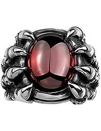Lureme® motorista estilo punk gótico corazones dragón de acero inoxidable garra con circón anillo de plata banda de negro para los hombres (04001138)