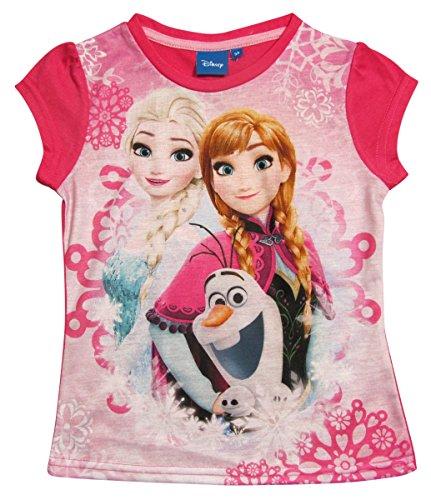 igin T-Shirt Kollektion 2017 Shirt 98 104 110 116 122 128 Mädchen Kurzarmshirt Anna, Elsa und Olaf Disney Fuchsia (104 - 110) (Frozen T-shirts)