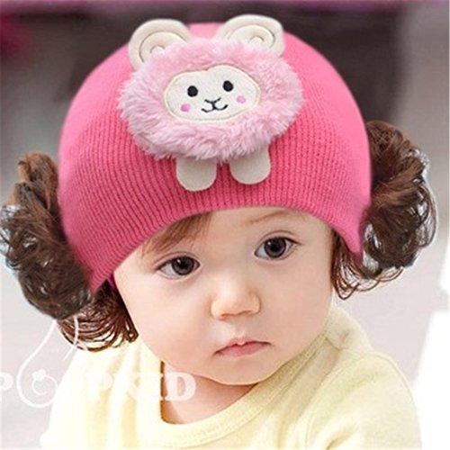 Cap Kinder Cap warme Strickmütze Haarband mit Kopfbedeckungen Perücke Hat Prinzessin Mädchen H (Baby Perücke)