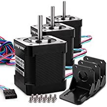 Stepper Motor, Longruner 3 Packs Nema 17 Stepper Motor 1.7A 0.59 Nm 84oz.in 48mm Body w/ 1m Cable & Connector for 3D Printer/CNC with Motor Mounting Bracket and 36mm M3 Screws LQD03 …