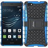 ykooe Huawei P8 Lite hülle, (Rüstungs Series) Huawei P8 Lite Hülle Dual Layer Hybrid Handyhülle Stoßfest Handys Schutz Case mit Ständer Schutzhülle für Huawei P8 Lite Blau (5,0 Zoll)