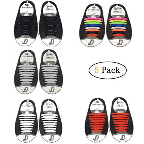 Kangcheng 5 Pack for Kids Lacci per scarpe impermeabili elastici  Impermeabili in silicone elastico piatto con 82d49b0bd2a