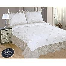 ForenTex- Colcha Boutí Cosida y Bordada, (HL*2611), cama 150 cm, 250 x 270 cm, Gris Beige, +2 fundas cojines, colcha barata, set de cama, ropa de cama. Por cada 2 colchas o mantas paga solo un envío (o colcha y manta), descuento equivalente antes de finalizar la compra.