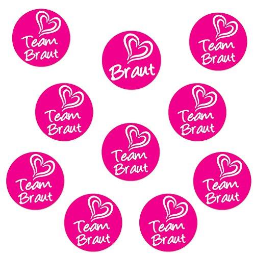 Oblique-Unique® 1 x Braut & 9 x Team Braut Sticker für Junggesellenabschied I Hochzeit I Anstecker