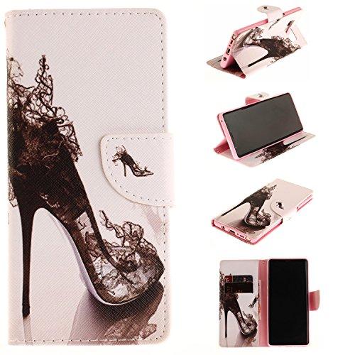Ooboom® iPhone X Hülle Flip PU Leder Schutzhülle Tasche Case Cover Wallet Brieftasche Stand mit Kartenfächer für iPhone X - Totem Blume Weiß High Heel