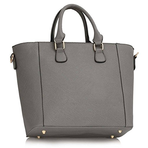 Leahward® Ladies Celebrity Style Lucchetto Tote Bags Donna Big Shoulder In Ecopelle Borse 31 Grigio