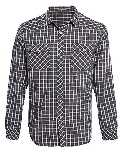 HOTOUCH Herren Hemd Kariert Langarmhemd Slim Fit Bügelfrei Freizeit aus Baumwolle mit Kentkragen Typ2-Sandbraun