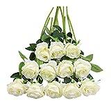 Tifuly Lot de 12 Roses Artificielles, Deco Fausses Fleurs en Soie avec Tige Simple de 19,68 pouces, Fleur Réaliste pour Fête Jardin en Famille Hôtel Décoration de Mariage, Décor Floral